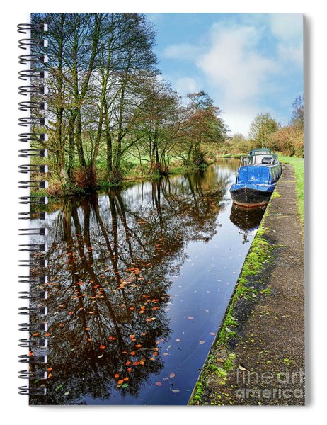 Autumn Reflections On  The Leeds Liverpool Canal Spiral Notebook