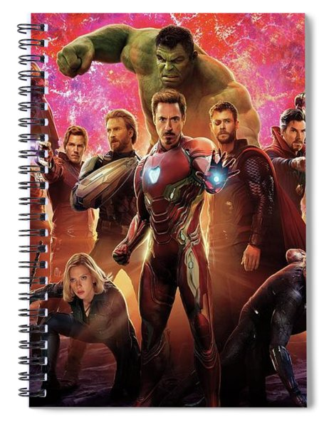 Spiral Notebook featuring the mixed media Avengers Infinity War by Movie Poster Prints