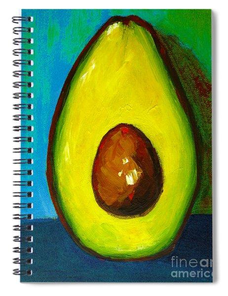 Avocado, Modern Art, Kitchen Decor, Blue Green Background Spiral Notebook
