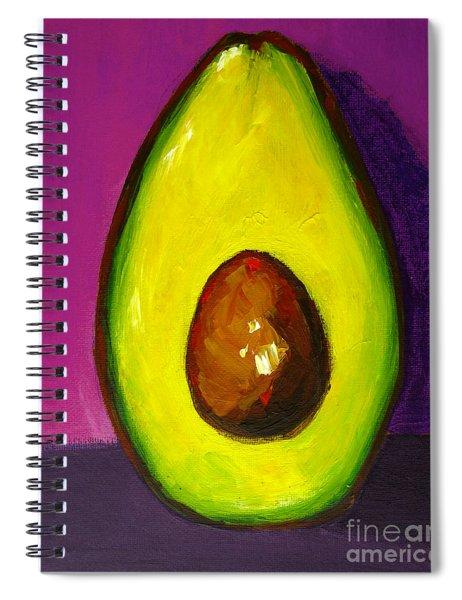 Avocado Modern Art, Kitchen Decor, Purple Background Spiral Notebook