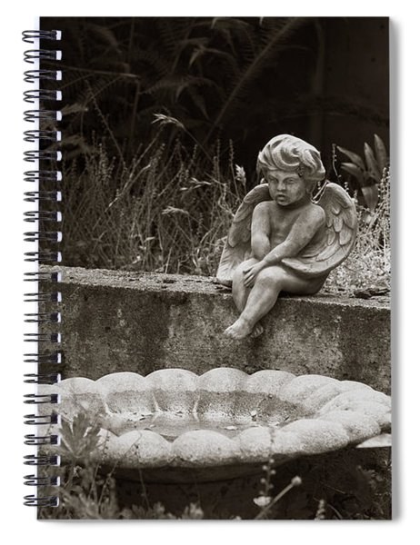 Baby Angel Ponders  Spiral Notebook by Lorraine Devon Wilke