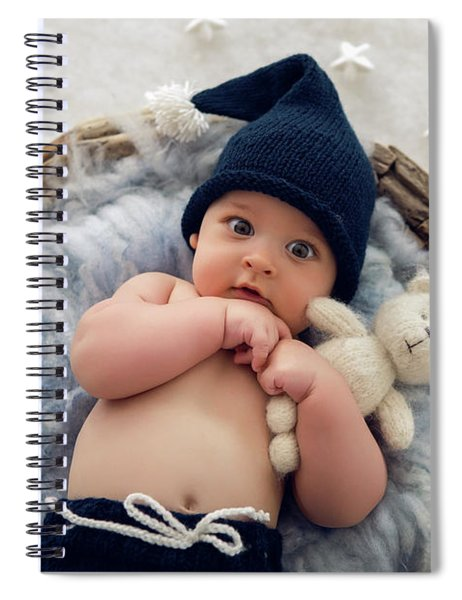 Baby Boy Lying In A Basket With Fur Hat-knitting Spiral Notebook