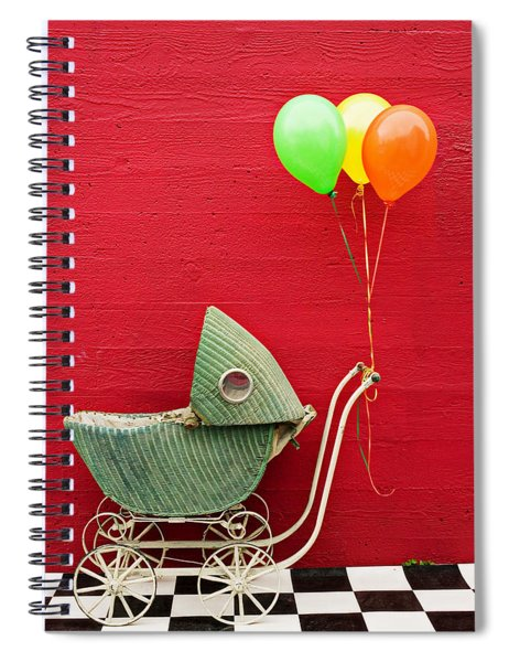 Baby Buggy With Red Wall Spiral Notebook
