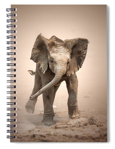 Baby Elephant Mock Charging Spiral Notebook