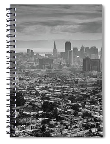 Back And White View Of Downtown San Francisco In A Foggy Day Spiral Notebook