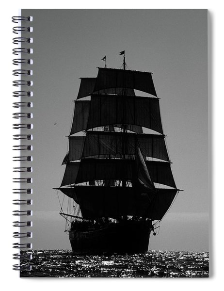 Back Lit Tall Ship Spiral Notebook