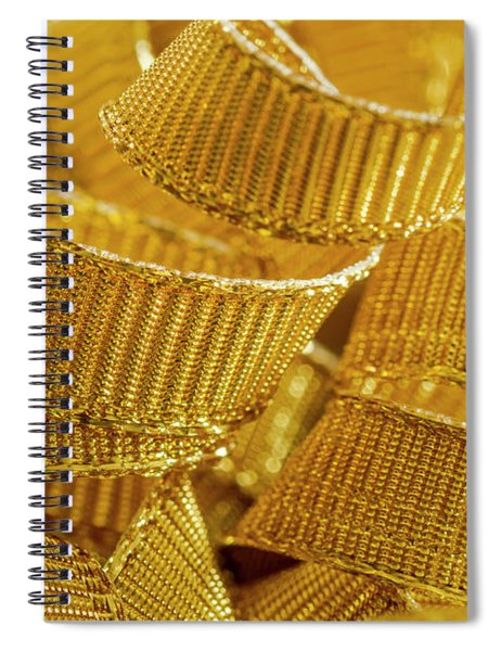 Background Of Gold Ribbon Strands Spiral Notebook