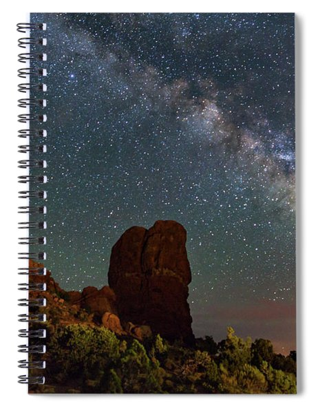 Balanced Rock And Milky Way Spiral Notebook
