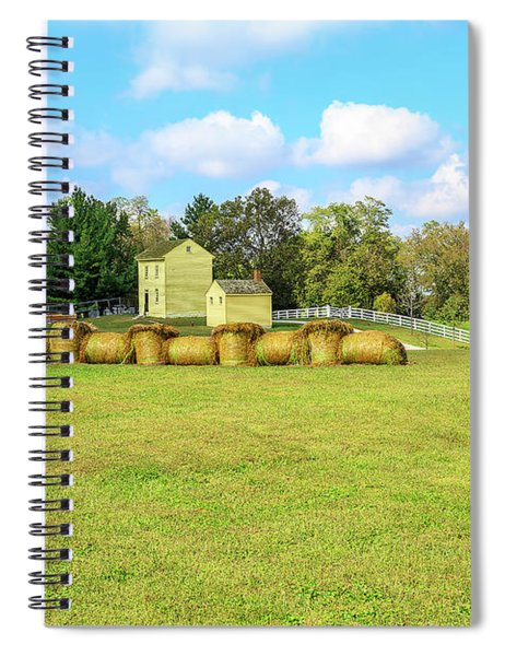 Baled Hay In A Grassy Field Spiral Notebook