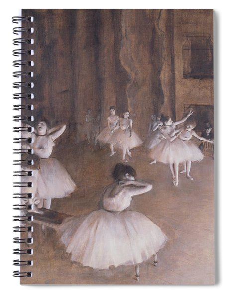 Ballet Rehearsal On The Stage Spiral Notebook by Edgar Degas
