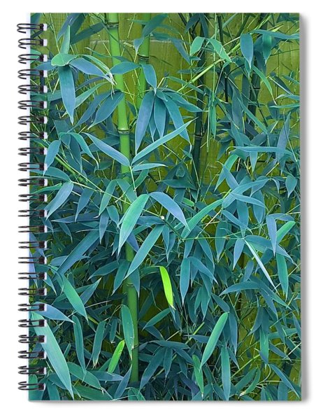Bamboo Leaves In Teal Green Spiral Notebook