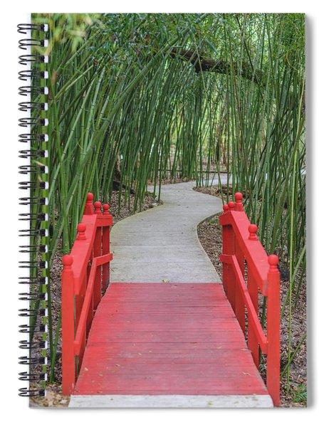 Bamboo Path Through A Red Bridge Spiral Notebook