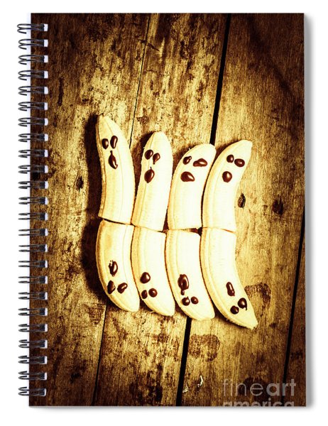 Banana Ghosts Looking To Split At Halloween Party Spiral Notebook