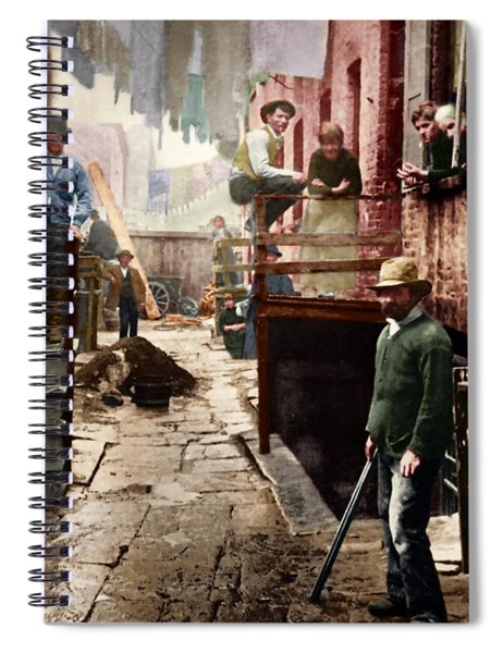 Bandit's Roost By Jacob Riis Colorized 20170701 Spiral Notebook