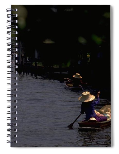Spiral Notebook featuring the photograph Bangkok Floating Market by Travel Pics
