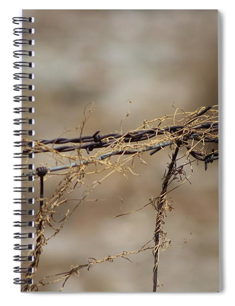 Barbed Wire Entwined With Dried Vine In Autumn Spiral Notebook