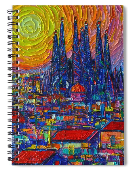 Barcelona Colorful Sunset Over Sagrada Familia Abstract City Knife Oil Painting Ana Maria Edulescu Spiral Notebook