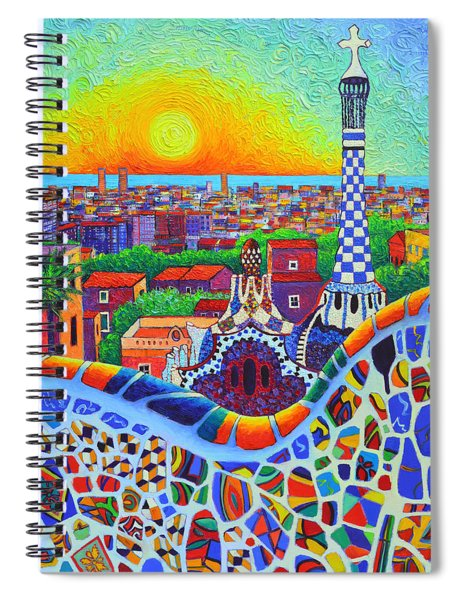 Barcelona Park Guell Sunrise Gaudi Tower Textural Impasto Knife Oil Painting By Ana Maria Edulescu Spiral Notebook
