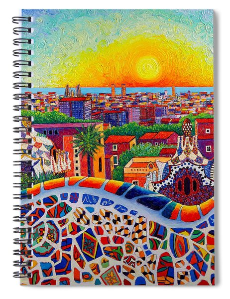 Barcelona Sunrise Colors From Park Guell Modern Impressionism Knife Oil Painting Ana Maria Edulescu Spiral Notebook
