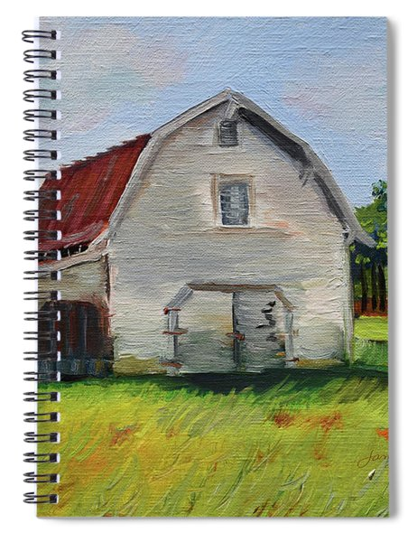 Spiral Notebook featuring the painting Barn-harrison Park, Ellijay-pinson Barn by Jan Dappen