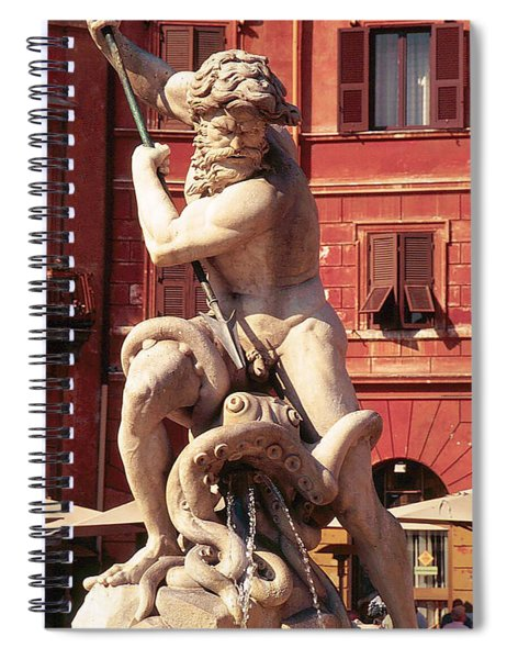 Baroque Sculpture Of Neptune Fountain In Piazza Navone, Rome, Italy Spiral Notebook