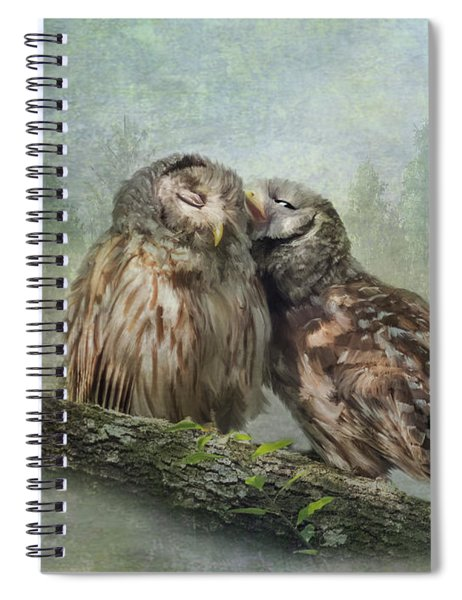 Spiral Notebook featuring the photograph Barred Owls - Steal A Kiss by Patti Deters