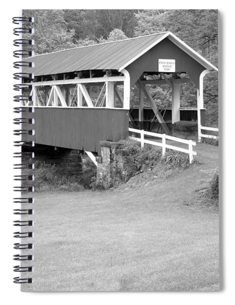 Barronvale Covered Bridge Black And White Spiral Notebook