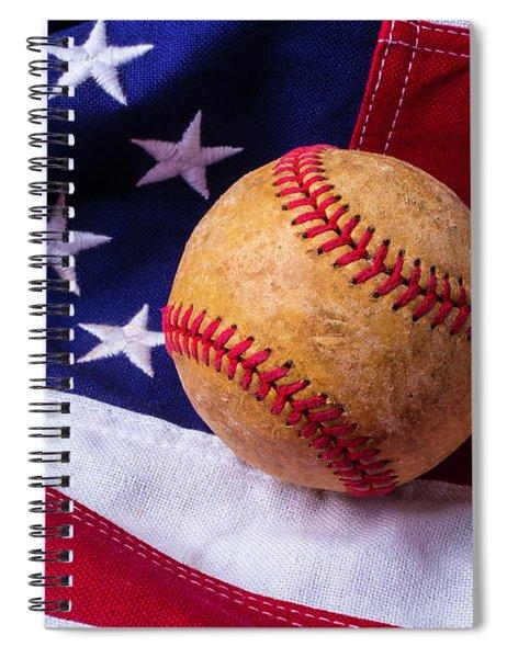 Baseball And American Flag Spiral Notebook