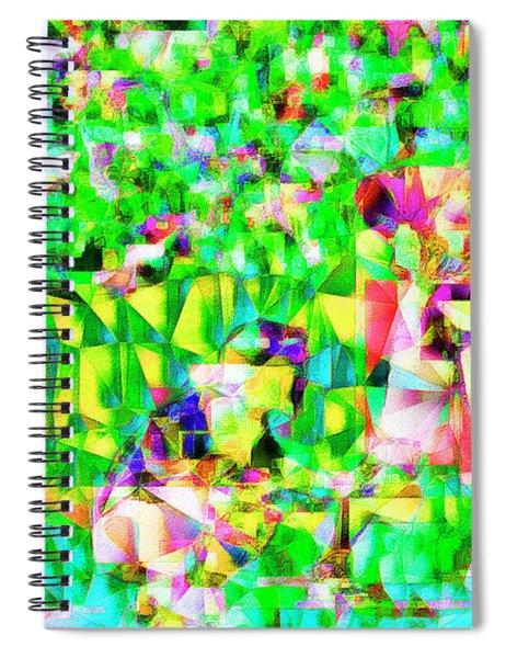 Baseball Batter Sluuger In Abstract Cubism 20170329 Spiral Notebook