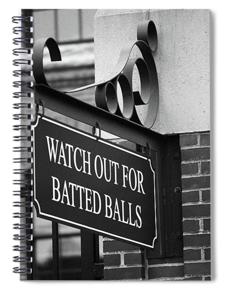 Baseball Warning Bw Spiral Notebook