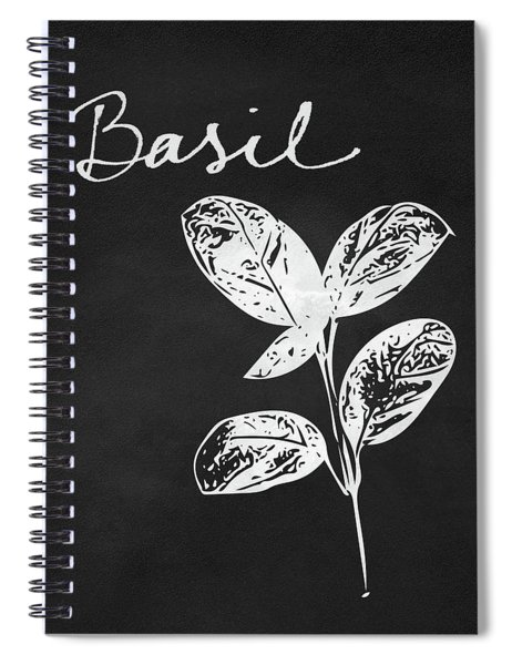 Basil Black And White- Art By Linda Woods Spiral Notebook