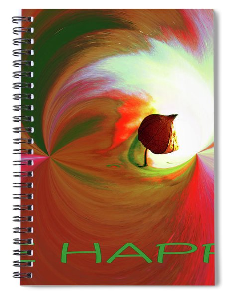Be Happy, Red-rose With Physalis Spiral Notebook