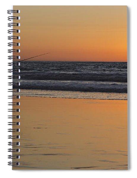 Beach Fishing At Sunset Spiral Notebook