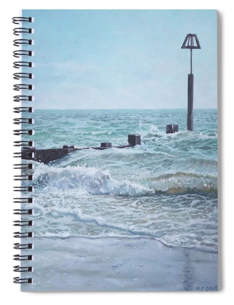 Spiral Notebook featuring the painting Beach Groin With Autumn Waves by Martin Davey