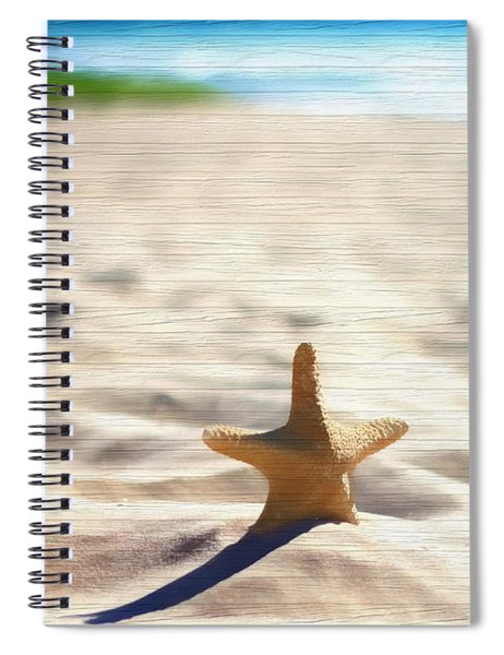 Beach Starfish Wood Texture Spiral Notebook