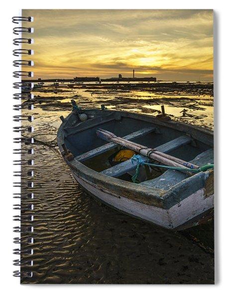 Beached Boat On La Caleta Cadiz Spain Spiral Notebook