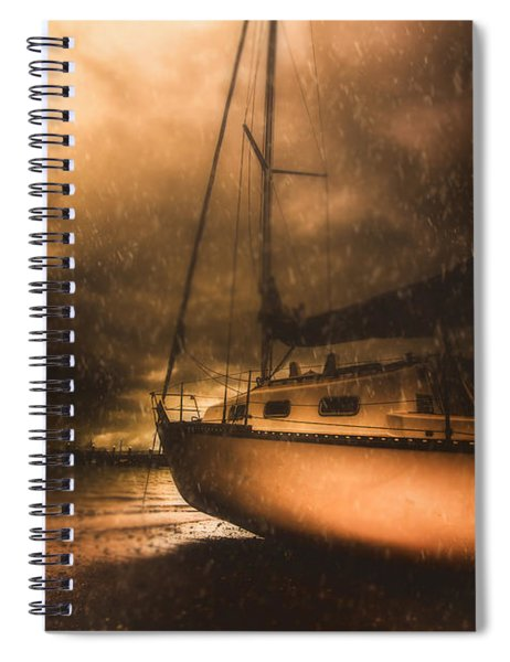 Beached Sailing Boat Spiral Notebook