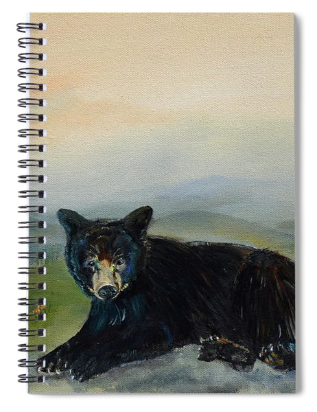 Spiral Notebook featuring the painting Bear Alone On Blue Ridge Mountain by Jan Dappen