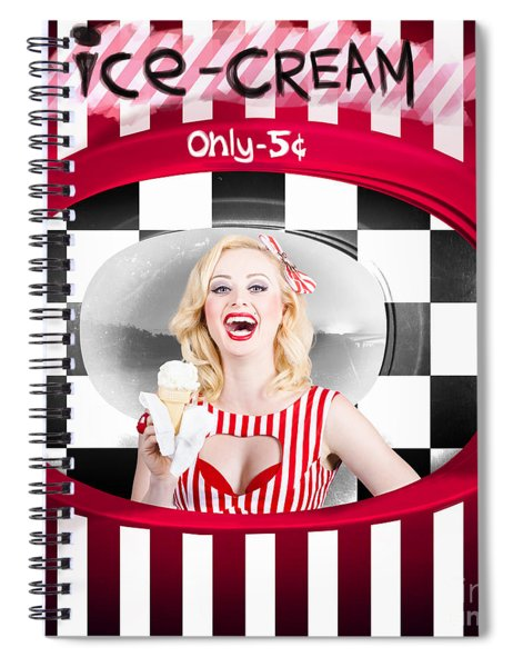 Beautiful Blonde Woman Serving Ice Cream Spiral Notebook