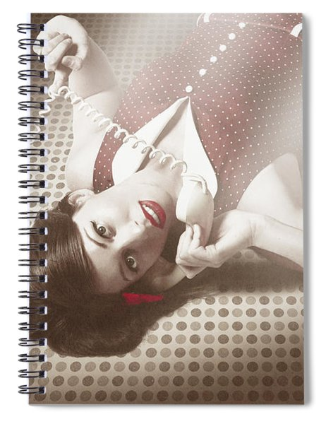 Beautiful Brunette Pinup Woman On Vintage Phone Spiral Notebook