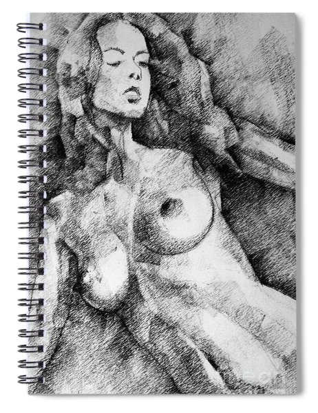 Beautiful Girl Close Up Standing Pose Art Drawing Spiral Notebook
