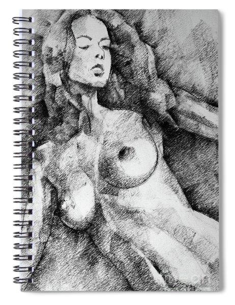 Beautiful Girl Close Up Standing Pose Art Drawing Spiral Notebook