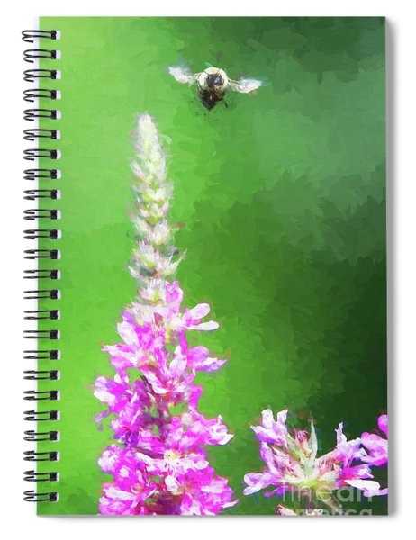 Bee Over Flowers Spiral Notebook