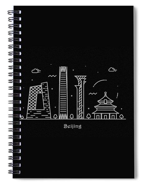 Beijing Skyline Travel Poster Spiral Notebook