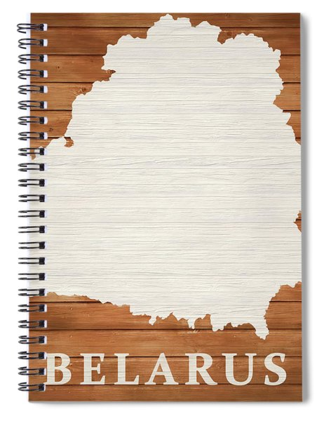 Belarus Rustic Map On Wood Spiral Notebook