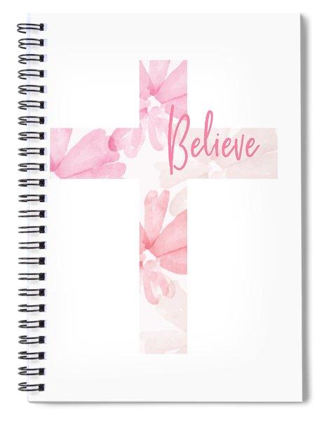 Believe Floral Cross- Art By Linda Woods Spiral Notebook