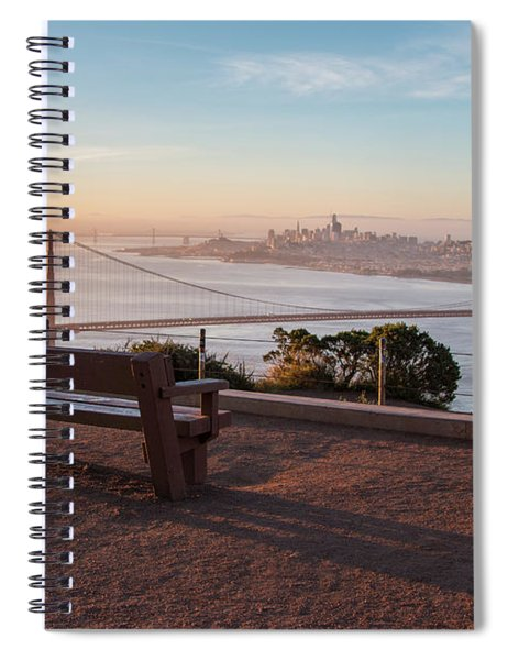 Bench Overlooking Downtown San Francisco And The Golden Gate Bri Spiral Notebook