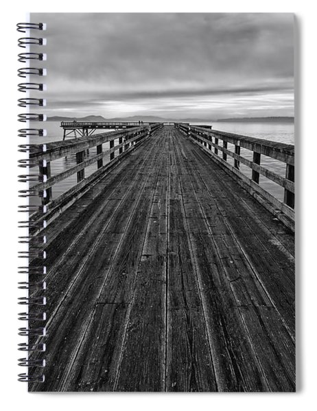 Bevan Fishing Pier - Black And White Spiral Notebook