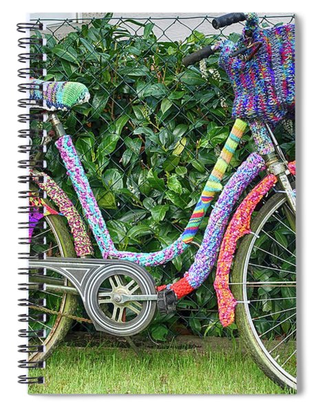 Bicycle In Knitted Sweater Spiral Notebook