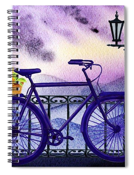 Blue Bicycle And Sunflowers By Irina Sztukowski  Spiral Notebook